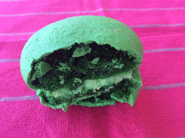 Fusion of matcha tea and white chocolate french macaron